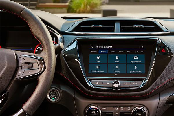 2022 Chevrolet Trailblazer SUV Interior Steering Wheel & Infotainment System Closeup