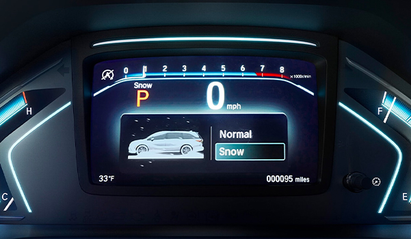 Detail of Snow mode setting screen in the 2022 Honda Odyssey.