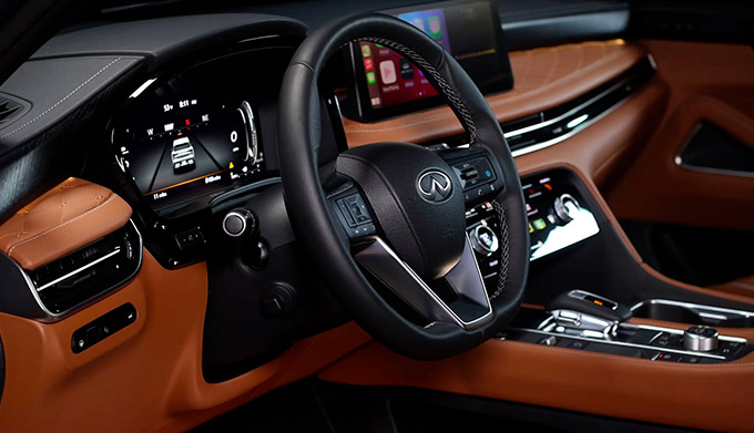 Interior close up of 2022 INFINITI QX60 driver side