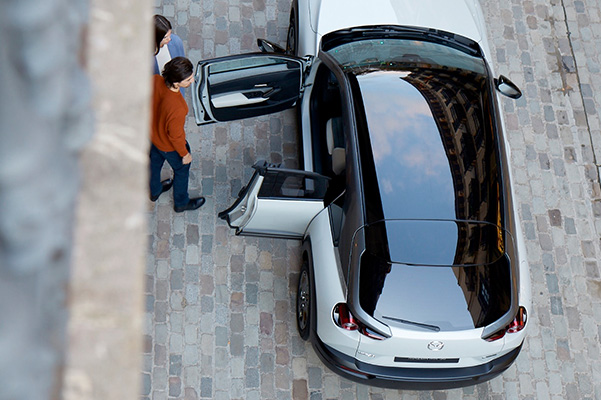 2022 MAZDA MX-30 drivers side front and back doors open with birds eye view