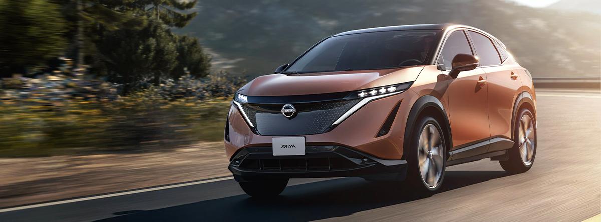The all new 2022 Nissan Ariya Driving down the raod