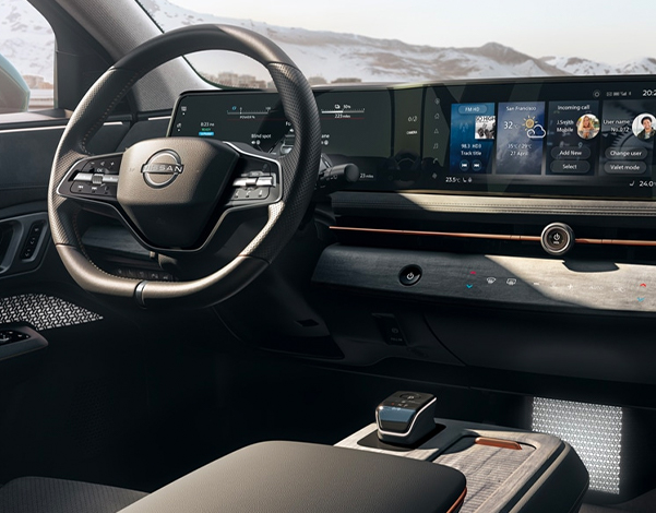 Nissan Ariya interior over driver's shoulder perspective