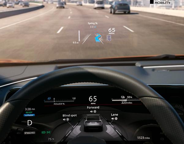 Nissan ARIYA detail of head-up display on windscreen