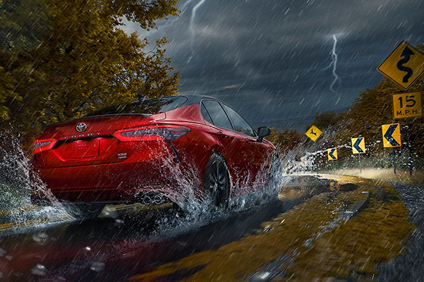 2022 Toyota Camry driving in thunderstorm