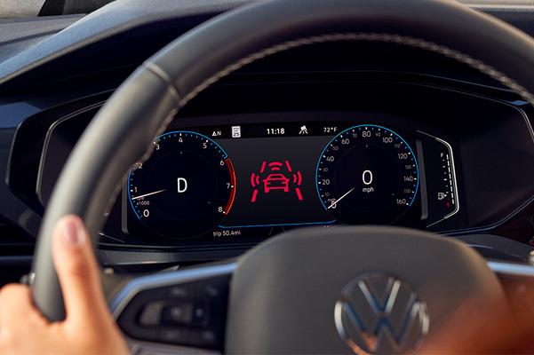 2022 Volkswagen Taos lane safety warning on dashboard