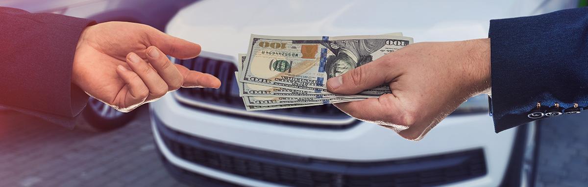 people handing off money