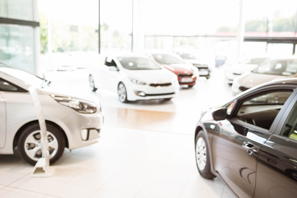 Interior shot of the showroom in a dealership
