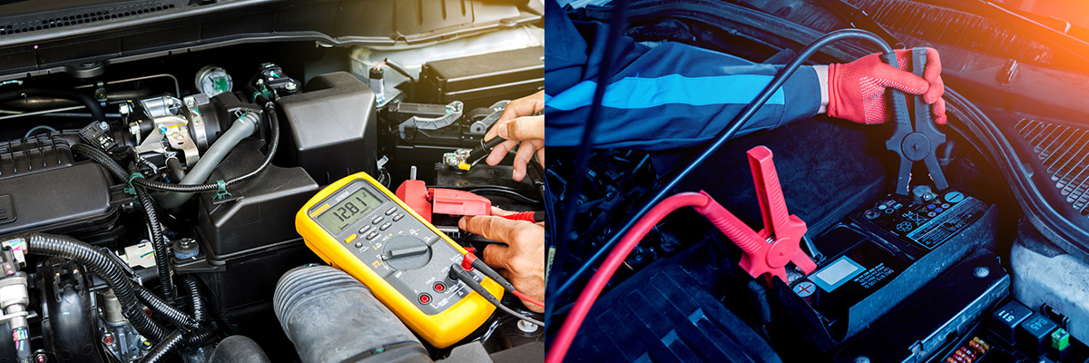 auto technician checking a car battery voltage using a yellow light meter